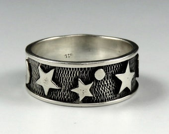 Wonderful Sterling Silver Star & Celestial Moon Night Sky Band Ring Size 9.5