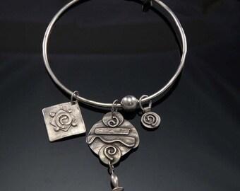 Artisan Boho Sterling Silver Charm Bangle Bracelet One of a kind