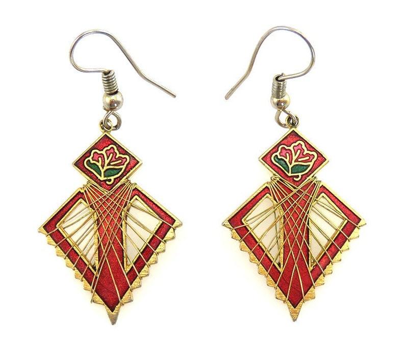 7fe1b11e1baa0 Vintage Gold Tone Cloisonné Enamel Red Rose Flower Dangle/Drop Earrings