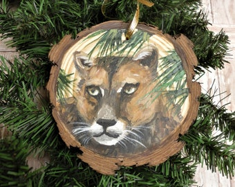Critter Collection Cougar Puma Panther Catamount American Cat Black Cherry Wood Christmas Ornament Mountain Lion Sitting Ornament