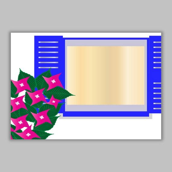 Photography Travel Any Occasion Blue Window Handmade Romania Analog Greeting Card