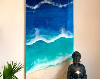 Canvas art beach wall art ocean wall art beach art canvas resin painting resin ocean art resin beach art ocean resin painting