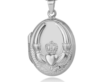 Claddagh Locket Necklace, Celtic Jewelry, Irish Jewelry, Anniversary Gift, Bridal Jewelry, Mom Gift, Wife Gift, Girlfriend Gift, Friend Gift