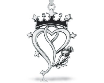 Luckenbooth Pendant, Celtic Jewelry, Scotland Jewelry, Bridal Jewelry, Anniversary Gift, Mom Gift, Heart Pendant, Outlander Jewelry