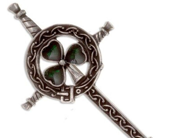 Shamrock Sword Kilt Pin, Celtic Jewelry, Irish Kilt Pin, Saint Patrick's Day, Gift for Him, Clover Jewelry, Fireman, Police, Ireland Brooch
