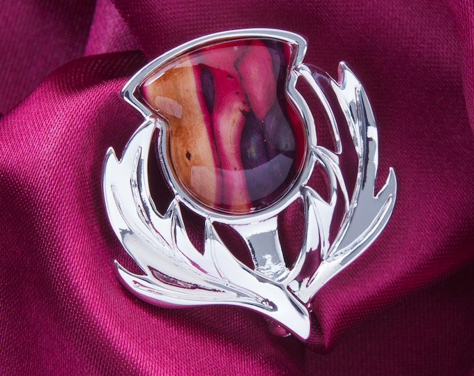 Thistle Brooch, Scotland Jewelry, Celtic Brooch, Scarf Pin, Coat Pin, Flower Jewelry, Nature Jewelry, Heather Gem, Wiccan Jewelry