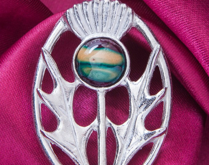 Thistle Brooch, Celtic Pin, Gift for Her, Unique Pin, Scotland Jewelry, Mother Gift, Tartan Pin, Wiccan Jewelry, Pagan Pin, Nature Jewelry