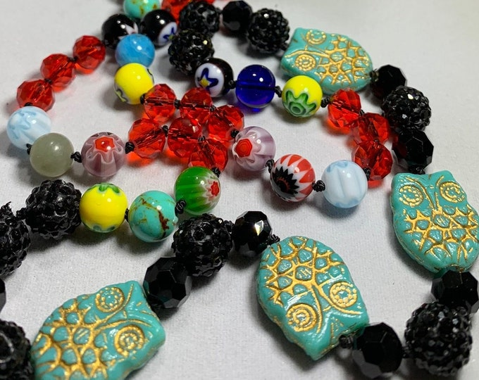 Long Beaded Necklace, Hand Knotted Necklace, Owl jewelry, Boho Necklace, Yoga Jewelry, Art Deco Necklace, Millefiori Bead Jewelry