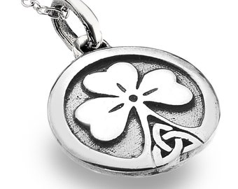 Shamrock Necklace, Celtic Jewelry, Irish Jewelry, Celtic Knot Pendant, Trinity Knot Jewelry, Clover Jewelry, Mom Gift, Girlfriend Gift