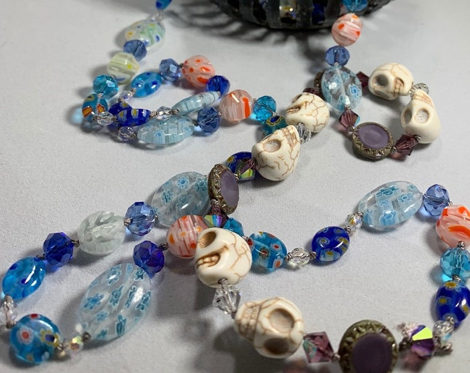 Long Beaded Necklace, Hand Knotted Necklace, Skull jewelry, Boho Necklace, Yoga Jewelry, Art Deco Necklace, Millefiori Bead Necklace