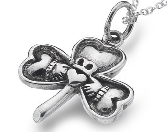 Claddagh Necklace, Shamrock Necklace, Irish Jewelry, Irish Dance Gift, Mom Gift, Best Friend Gift, Girlfriend Gift, Clover Necklace