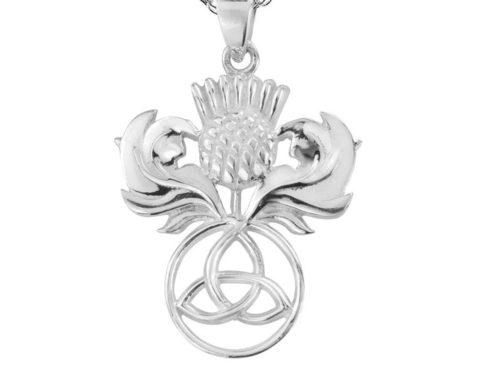 Thistle Necklace, Celtic Jewelry, Scotland Jewelry, Outlander Jewelry, Wiccan Jewelry, Mom Gift, Girlfriend Gift, Wife Gift, Trinity Knot