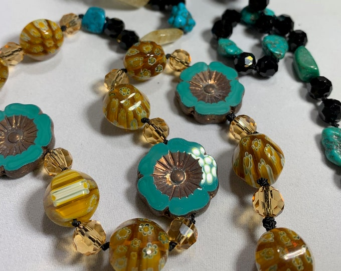 Long Beaded Necklace, Hand Knotted Necklace, Turquoise Jewelry, Boho Necklace, Yoga Jewelry, Art Deco Necklace, Millefiori Bead Necklace