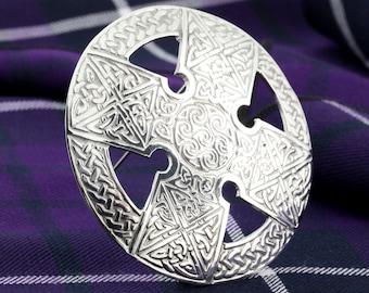 Celtic Cross Brooch, Celtic Jewelry, Irish Jewelry, Ireland Pin, Girlfriend Gift, Sister Gift, Plaid Pin, Celtic Knot Jewelry, Kilt Pin