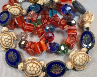 Long Beaded Necklace, Hand Knotted Necklace, Art Deco jewelry, Boho Necklace, Yoga Jewelry, Art Deco Necklace, Turtle Jewelry, Millefiori