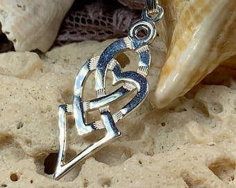 Celtic Love Knot Necklace, Bridal Jewelry, Heart Pendant, Wedding Necklace, Mom Gift, Anniversary Gift, Wife Gift, Sister Gift