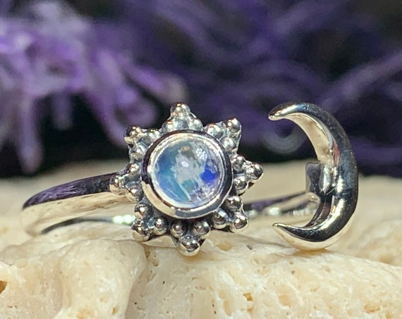 Crescent Moon Ring, Celtic Jewelry, Celestial Jewelry, Goddess Jewelry, Moon Ring, Wiccan Jewelry, Anniversary Gift, Promise Ring, Wife Gift