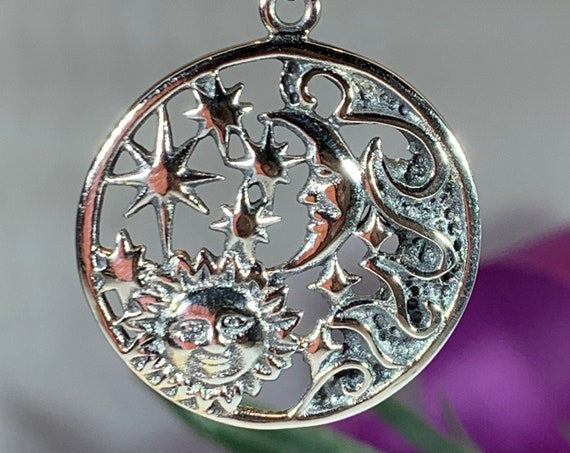 Moon Necklace, Celtic Jewelry, Celestial Jewelry, Wiccan Jewelry, Star Jewelry, Crescent Moon, Sun Jewelry, Anniversary Gift, Pagan Jewelry