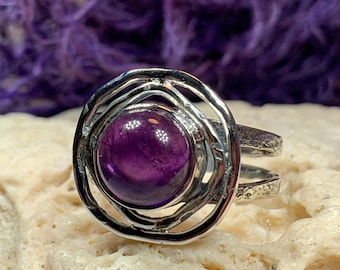Celtic Spiral Ring, Amethyst Jewelry, Celtic Ring, Celestial Jewelry, Celtic Jewelry, Anniversary Gift, Wiccan Jewelry, Wife Gift
