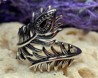Peacock Feather Ring, Celtic Jewelry, Feather Jewelry, Nature Jewelry, Boho Ring, Boho Jewelry, Anniversary Gift, Bridal Ring, Wiccan