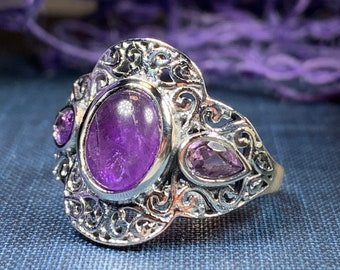 Celtic Magic Ring, Amethyst Jewelry, Statement Ring, Purple Jewelry, Celtic Jewelry, Anniversary Gift, Wiccan Jewelry, Wife Gift