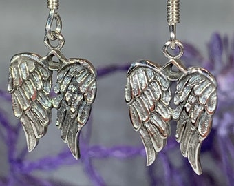Angel Wings Earrings, Celtic Jewelry, Spiritual Jewelry, Angel Jewelry, Wings Jewelry, Bridal Jewelry, Memorial Jewelry, Survivor Gift