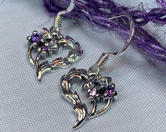 Thistle Amethyst Earrings, Scotland Jewelry, Celtic Jewelry, Flower Jewelry, Mom Gift, Outlander Jewelry, Wiccan Jewelry, Pagan Jewelry