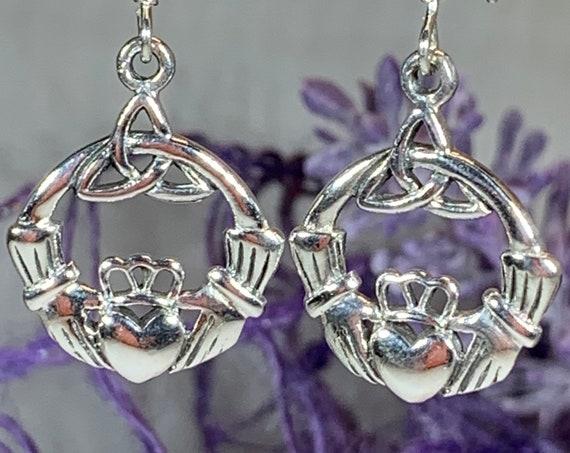 Claddagh Earrings, Celtic Jewelry, Irish Jewelry, Trinity Knot Jewelry, Triquetra Jewelry, Mom Gift, Irish Dance Gift, Anniversary Gift
