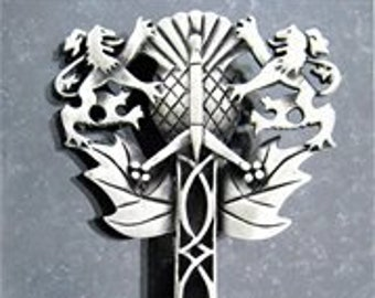 Lion Kilt Pin, Sword Pin, Thistle Jewelry, Scotland Jewelry, Celtic Brooch, Tartan Pin, Kilt Pin, Groom Gift, Dad Gift, Bagpiper Gift