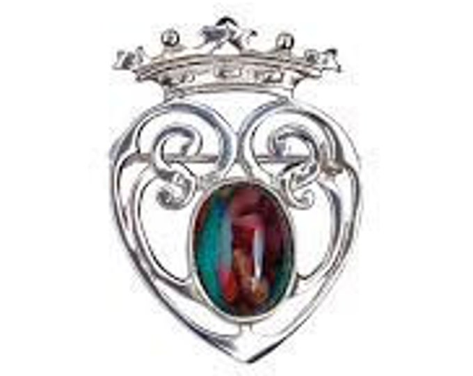 Luckenbooth Brooch, Scotland Jewelry, Celtic Jewelry, Mary Queen of Scots, Scotland Pin, Anniversary Gift, New Bride Pin, Heart Jewelry