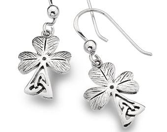 Shamrock Earrings, Celtic Jewelry, Trinity Knot Jewelry, Celtic Knot Jewelry, Irish Jewelry, Gift for Her, Clover Jewelry, Wiccan Jewelry