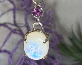 Moonstone Necklace, Gemstone Pendant, Celestial Jewelry, Celtic Jewelry, Anniversary Gift, Wiccan Jewelry, Pagan Necklace, Girlfriend Gift