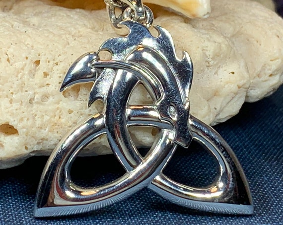 Trinity Knot Necklace, Celtic Necklace, Irish Jewelry, Dragon Jewelry, Trinity Knot Jewelry, Wiccan Jewelry, Anniversary Gift, Scotland Gift