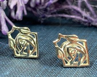 Rose Stud Earrings, Scotland Jewelry, Mackintosh Jewelry, Celtic Jewelry, Anniversary Gift, Stud Earrings, Nature Jewelry, Art Deco Jewelry