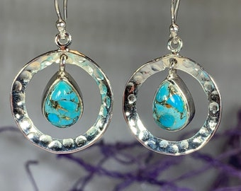 Celtic Hoop Earrings, Celtic Jewelry, Turquoise Jewelry, Wiccan Jewelry, Norse Jewelry, Irish Jewelry, Scotland Jewelry, Gift for Her