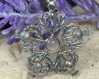 Thistle Necklace, Celtic Jewelry, Trinity Knot Jewelry, Scotland Jewelry, Celtic Necklace, Outlander Jewelry, Nature Necklace, Thistle