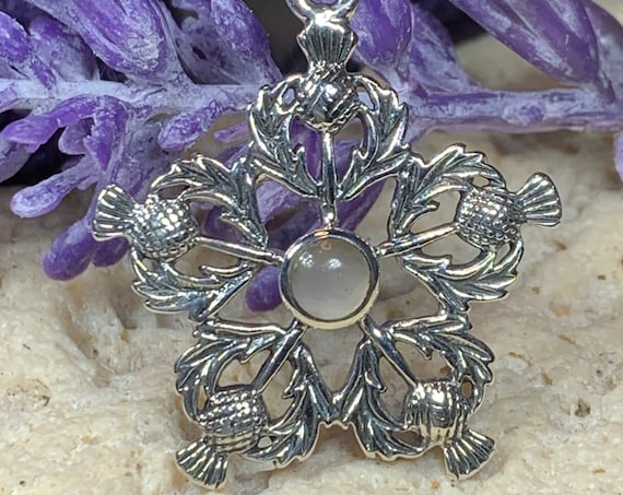 Thistle Necklace, Celtic Jewelry, Trinity Knot Jewelry, Scotland Jewelry, Celtic Necklace, Outlander Jewelry, Nature Necklace, Thistle Gift