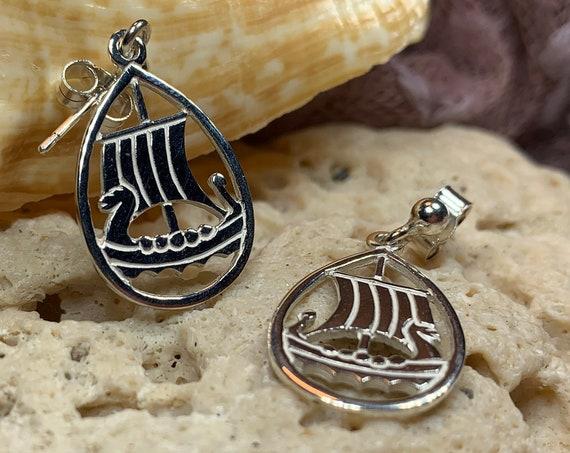 Viking Ship Earrings, Norse Jewelry, Viking Jewelry, Nordic Jewelry, Celtic Jewelry, Nautical Jewelry, Anniversary Gift, Pagan Jewelry