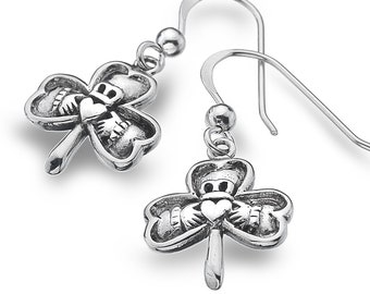 Claddagh Earrings, Celtic Jewelry, Irish Jewelry, Shamrock Jewelry, Clover Jewelry, Irish Dance Gift, Mom Gift, Best Friend Gift, Wife Gift