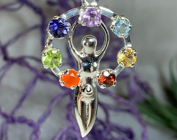 Goddess Necklace, Celtic Jewelry, Chakra Jewelry, Yoga Jewelry, Danu Jewelry, Inspirational Jewelry, Rainbow Jewelry, Anniversary Gift