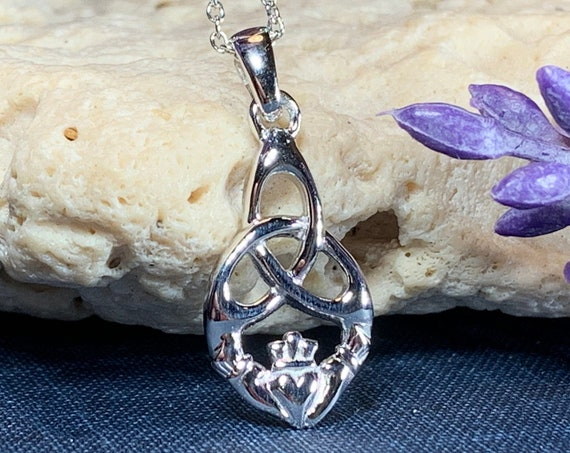 Claddagh Necklace, Celtic Jewelry, Irish Jewelry, Trinity Knot Necklace, Heart Pendant, Ireland Gift, Anniversary Gift, Graduation Gift