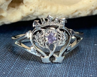 Luckenbooth Ring, Outlander Jewelry, Thistle Ring, Scotland Jewelry, Bridal Jewelry, Amethyst Ring, Heart Ring, Bride Gift, Wife Gift