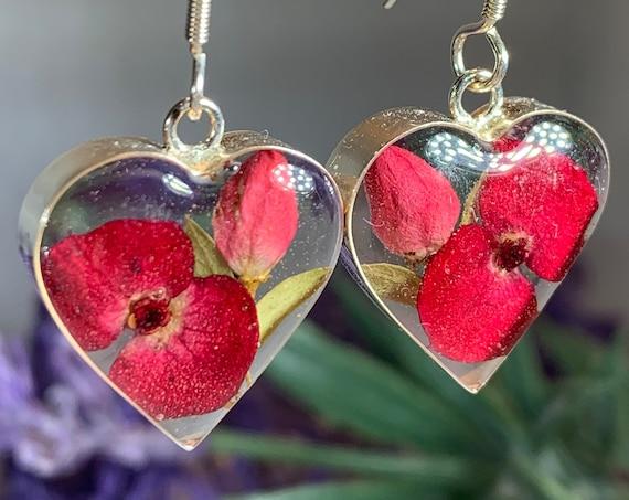 Rose Earrings, Celtic Jewelry, Flower Jewelry, August Birthday Flower, Anniversary Gift, Dried Flower Jewelry, Mom Gift, Memorial Jewelry
