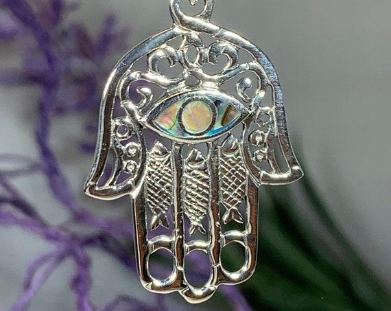 Hamsa Hand Necklace, Celtic Jewelry, Evil Eye Jewelry, Celtic Knot Jewelry, Protection Jewelry, Hand Jewelry, Yoga Jewelry, Hand of God