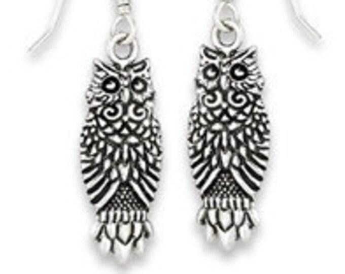 Celtic Great Horned Owl Sterling Silver Earrings