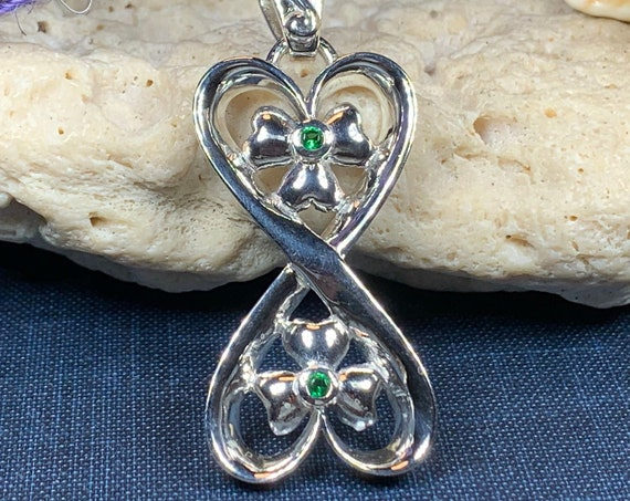 Shamrock Infinity Necklace, Infinity Jewelry, Irish Jewelry, Anniversary Gift, Wedding Jewelry, Wife Gift, Girlfriend Gift, Wiccan Jewelry