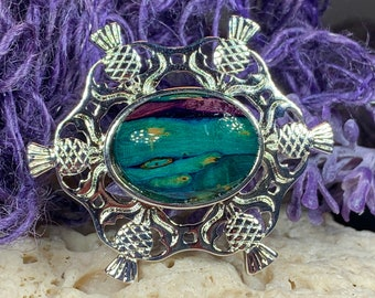 Thistle Brooch, Scotland Jewelry, Outlander Jewelry, Nature Jewelry, Best Friend Gift, Celtic Pin, Tartan Pin, Scottish Brooch, Wiccan Pin