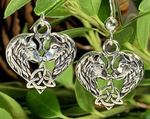 Wolf Earrings, Celtic Jewelry, Irish Jewelry, Norse Jewelry, Pagan Jewelry, Viking Jewelry, Celtic Knot Earrings, Wolf Jewelry, Mom Gift