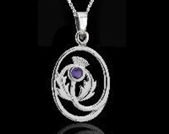 Thistle Necklace, Flower Necklace, Scotland Jewelry, Outlander Jewelry, Sister Gift, Mom Gift, Wife Gift, Anniversary Gift, Amethyst Pendant