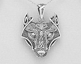 Viking Wolf Necklace, Celtic Jewelry, Norse Jewelry, Pagan Pendant, Viking Jewelry, Celtic Knot Pendant, Animal Jewelry, Direwolf Jewelry